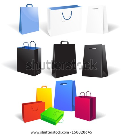 Set of empty shopping bags isolated on white background, vector illustration  - stock vector