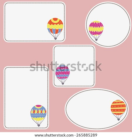 set of empty tags with hand drawn air balloons, labels with empty space for your text here, isolated design objects - stock vector