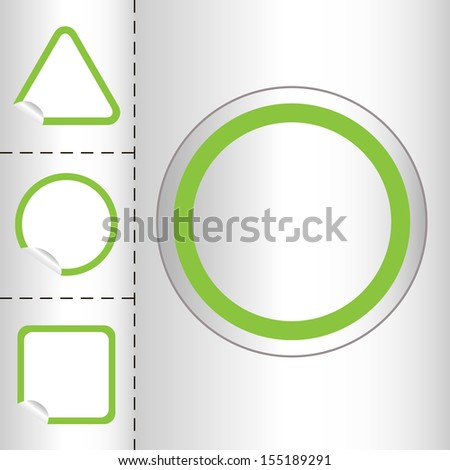 set of empty web icon button in circle and square shape. small sticker windows. EPS10 vector illustration