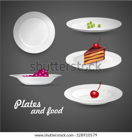 Set of empty white plate on the white background with food. - stock vector