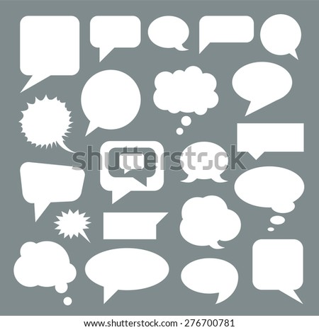 Set of empty whites speech bubbles. Flat. Vector - stock vector