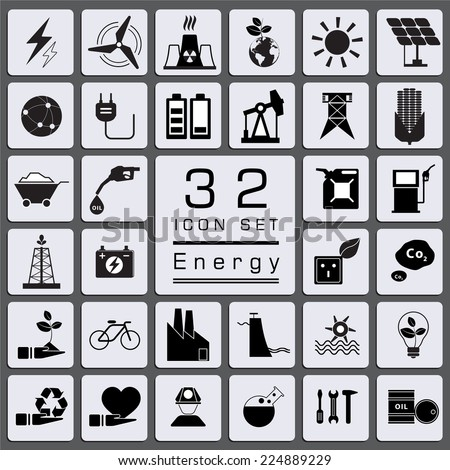 Set of Energy icons for web icon collections. - stock vector