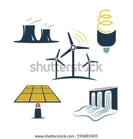 set of energy industry - stock vector