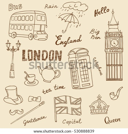 Set of England symbols,landmarks.Brown and beige sketch.Hand drawn set with crown,Big Ben, red bus,flag,tea pot, vector illustration isolated,words:London,rain, capital,Queen,gentleman,hello,tea time