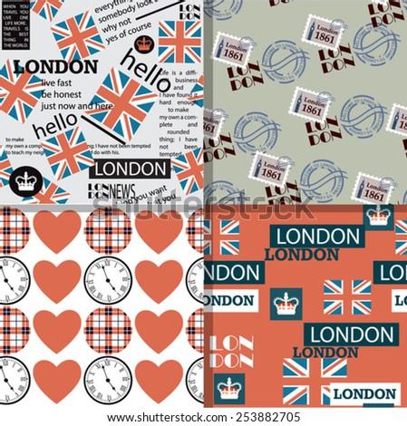 set of english patterns  - stock vector