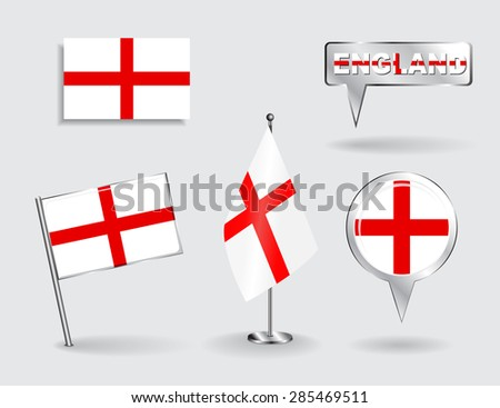 Set of English pin, icon and map pointer flags. Vector illustration. - stock vector