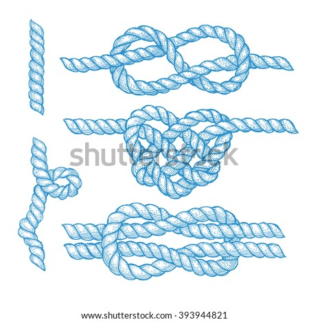 Set of engraved knots and ropes in vintage style, vector - stock vector