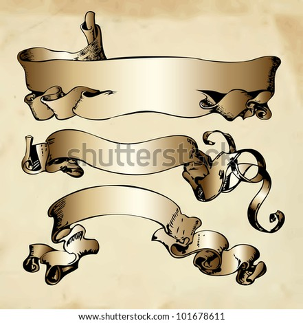 Set of engraving vintage ribbons with old paper - stock vector