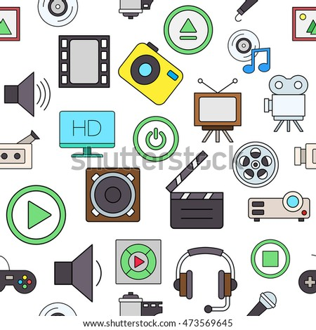 Set of Entertainment colorful pattern icons