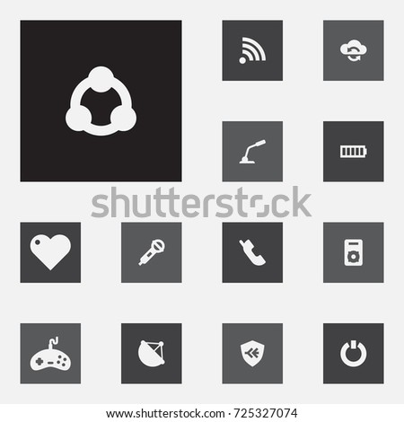 Set 13 Entertainment Icons Set Collection Communication Stock Vector