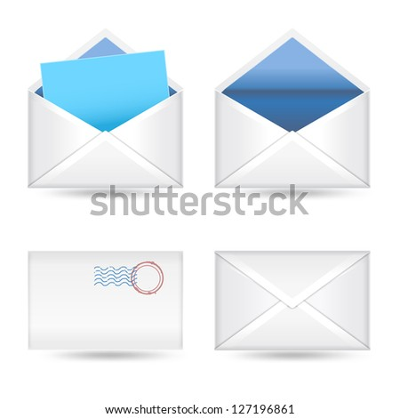 set of  envelopes on white - stock vector