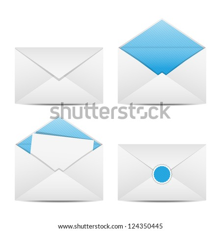 Set of envelopes. Open, closed, sealed, with a letter. Vector illustration. - stock vector