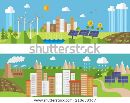 Set of environment and  ecology banners. Green energy and pollution. - stock vector