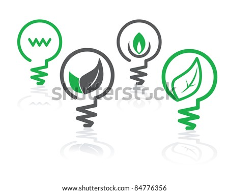 set of environment green icons with light bulbs and leaves - stock vector