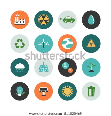 set of environment icon renewable concept, flat style