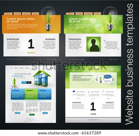 set of environmental clean web business templates - stock vector