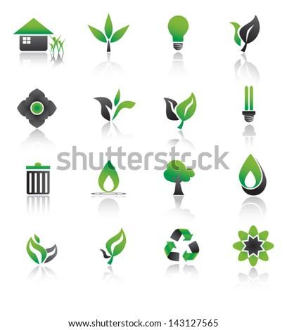 Set of environmental green icons. - stock vector