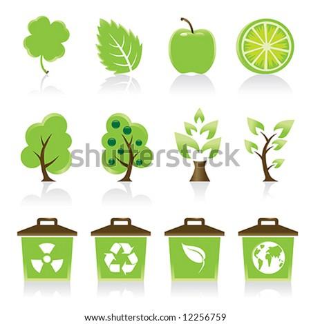 Set of 12 environmental green icons for your design idea - stock vector