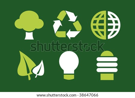 Set of 6 Environmental Green Icons, Graphics, Symbols and Signs