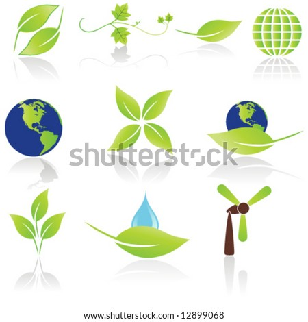 Set of 10 Environmental icons / logos - stock vector