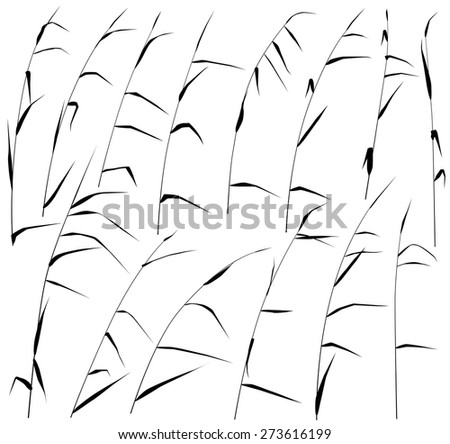 Set of eps8 editable vector silhouettes of reeds - stock vector