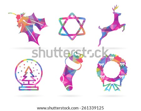 Set of EPS10 Vector Colorful Illustrated Holiday Season Mosaic Style Polygonal Silhouette Icons Isolated on White Background  - stock vector