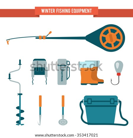 Set of equipment in the flat style for winter fishing on the ice. Fishing rod with a jig, boots and a thermos. - stock vector