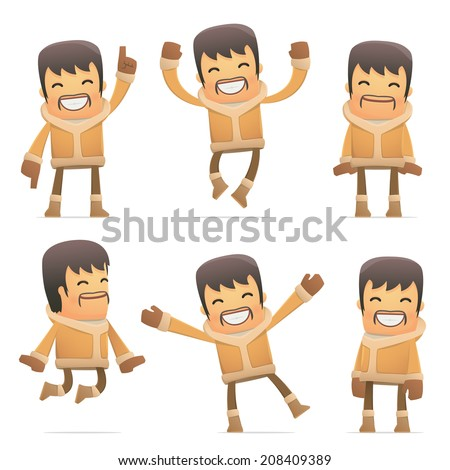 set of eskimo character in different interactive  poses - stock vector