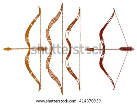 Set of ethnic arrow and bow isolated on white background. Vector illustration with ethnic elements isolated on white background. Tribal theme