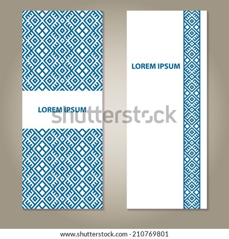 Set of ethnic blue and white banners with pattern, border and sample text. empty blank template isolated on grey gradient background with shadows. vector illustration - stock vector