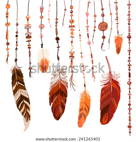 Set of ethnic feathers. Ethnic seamless pattern in native style. Bright colored feathers and beads on white background. Vector decorative elements hippie - stock vector