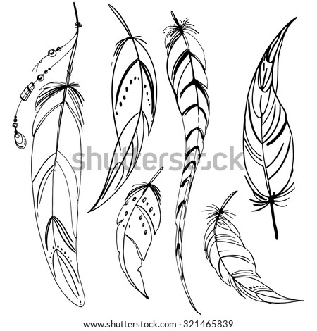 Set of ethnic feathers. Ethnic set in native style. Feathers and beads on white background. Vector decorative elements hippie