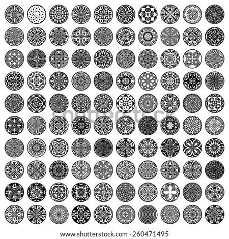 Set of 100 ethnic ornamental circles (Vector labels)