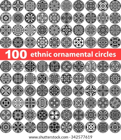 Set of 100 ethnic ornamental circles (Vector labels mandalas) - stock vector