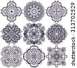 Set of ethnic ornamental floral pattern. Henna mehndi design elements. Hand drawn mandalas. Orient traditional background. Lace circular ornaments. Indian, Islamic, Asian, ottoman, Arabic  motifs. - stock vector