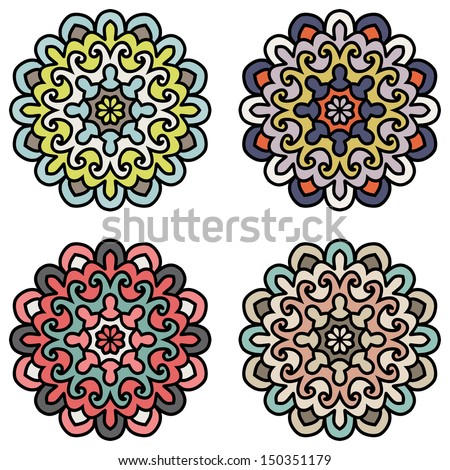 Set Of Ethnic Ornaments For Design. Mandala - Vector Circle Ornament, Design Element