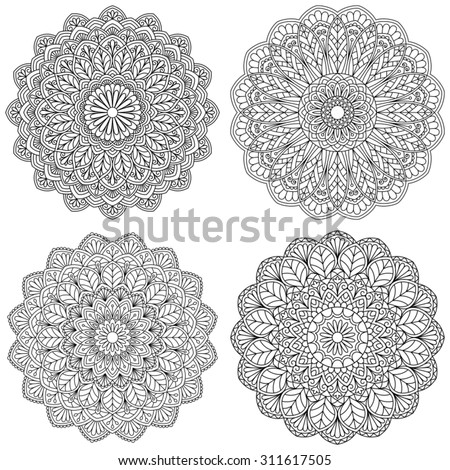 Set of ethnic round ornaments. Mandala. - stock vector