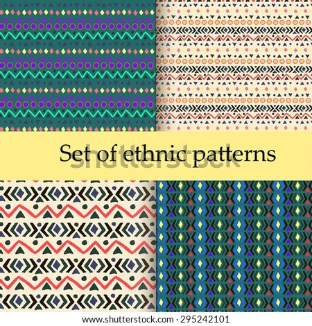Set of ethnic seamless patterns. Aztec geometric background. Hand drawn navajo fabric. Modern abstract wallpaper. Vector illustration. - stock vector