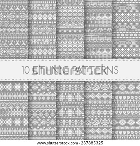 Set of ethnic seamless patterns. Aztec gray geometric backgrounds. Tribal, ethnic, navajo prints. Modern abstract wallpapers. Vector illustration. Swatches of seamless patterns included in the file. - stock vector