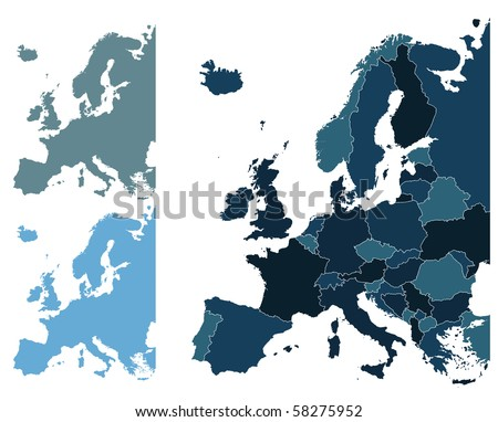 Set of Europe vector highly detailed maps - stock vector