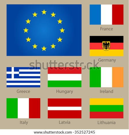 Set of European countries flags on neutral background. Vector illustration - stock vector