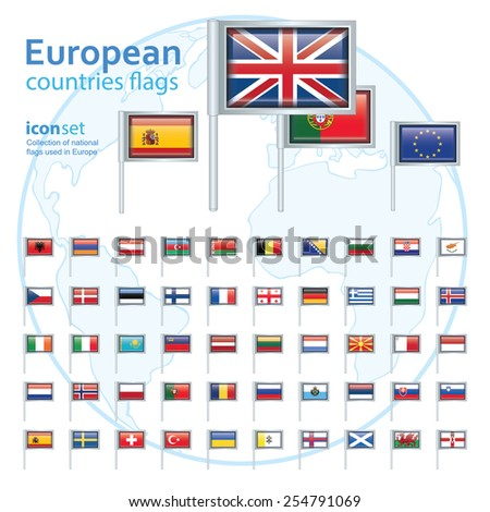 set of european flags, vector illustration - stock vector