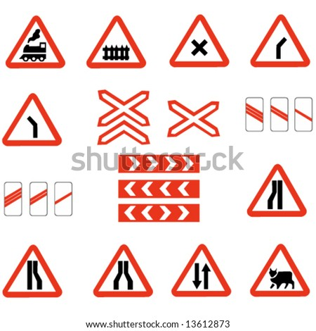 set of european information warning signs