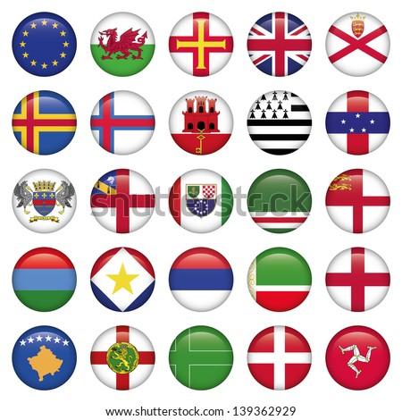 Set of European Round Flag Icons - stock vector