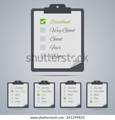 Set of evaluation clipboards in flat style.. Vector illustration - stock vector
