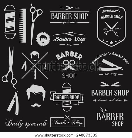 Set of exclusive logo, elements, icons and logotypes for barbershop - stock vector