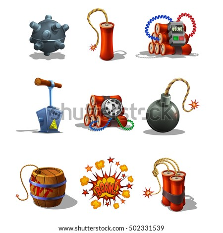 Stock Vector Set Of Explosive Icons And Detonating Fuse Isolated On White Background Vector Illustration on Fuse Box Clip Art
