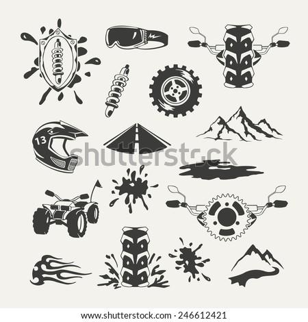 Set of extreme sports emblems, badges, labels and designed elements - stock vector