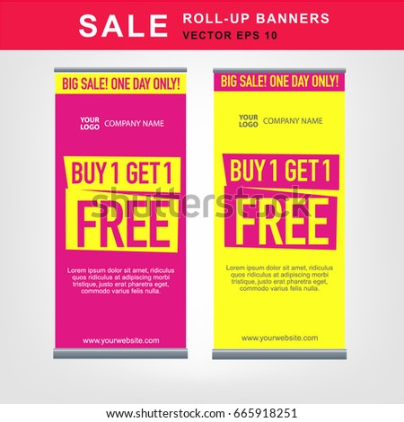 set eyecatching rollup banners big sale stock vector royalty free