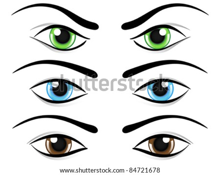 Set of eyes in different colors and mood. Vector illustration. - stock vector